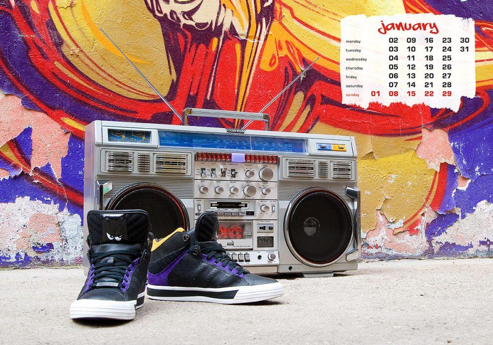boombox & sneaker calendar 2012 - january