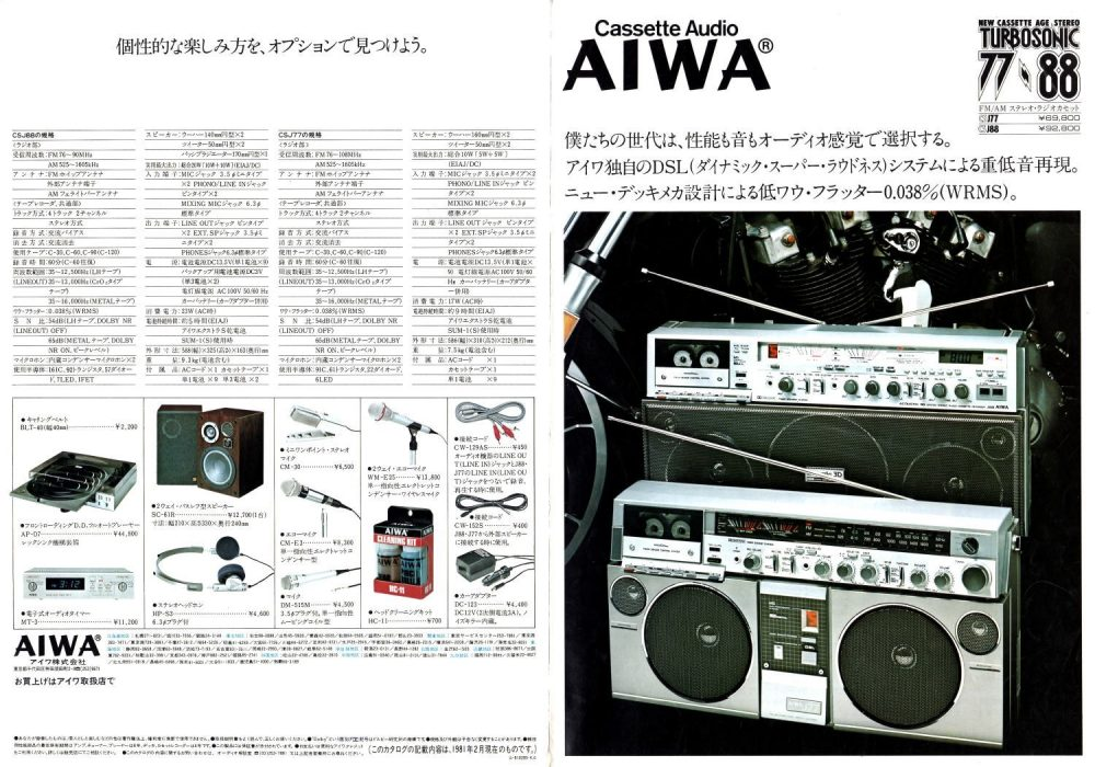 AIWA・ラジオカセット・テープレコーダー・1981年(昭和56年)のカタログ