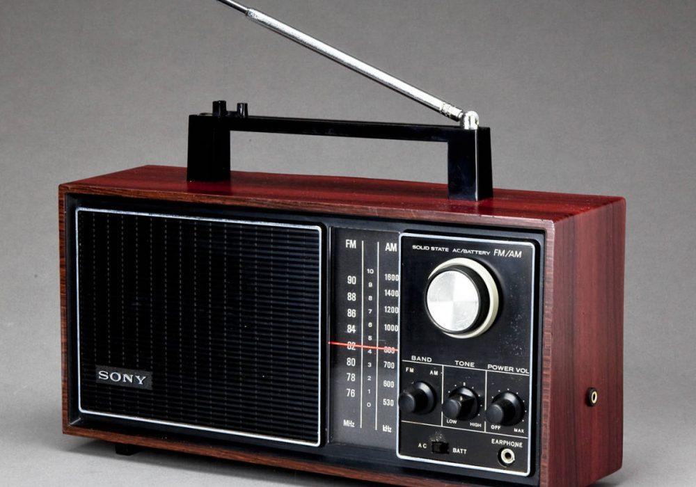 SONY 木調 トランジスターラジオ 8石 TFM-9200 8TORANSISTORS FM/AM AC/DC 実用中古品!