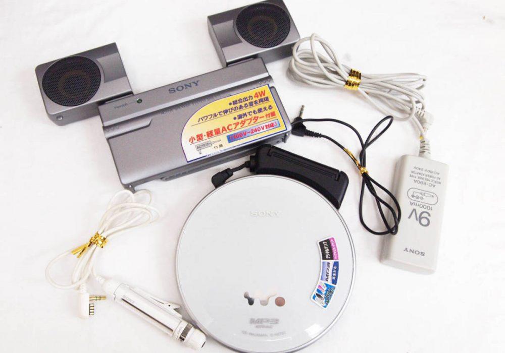 SONY★ソニー CDウォークマン(D-NE730 RM-MC53EL EBP-104)&アクティブスピーカー(SRS-T77 AC-E90A)セット★動作品